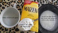 O que é o amido de milho? Nada mais é que um carboidrato, ou seja, possui uma grande cadeia de glicose, que por sua vez tem um grande poder de hidratação, redução do volume e brilho. Receita básica: Uma colher de sopa de Maizena Uma xícara de água (ou leite) em média 200ml Uma colher de sopa de máscara de hidratação capilar Opcional: uma colher de azeite (eu sempre coloco), pode ser também Bepantol, óleo de coco, de rícino, o que você tiver ai na sua casa.