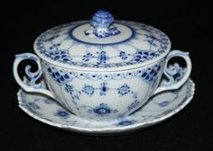Royal Copenhagen fluted full lace cream soup saucer set with lid