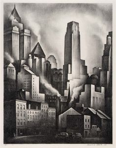 Financial District 1931 Howard Cook, born Springfield, MA Santa Fe, NM 1980 George C. Miller, born New York City 1965 (Printer) lithograph on paper New York Black And White, Art Deco Buildings, American Art, Cook American, Night City, Museum Collection, Gravure, Art Museum, Photo Art