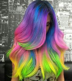 Colorful hair, long hair
