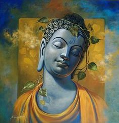 Gautama Buddha by artist Sanjay Lokhande Budha Painting, Ganesha Painting, Peace Painting, Religious Paintings, Indian Art Paintings, Buddha Images Paintings, Paintings Online, Spiritual Paintings, Religious Art