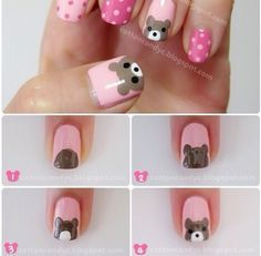 Teddy Bear and Polka Dots Nail Art Tutorial - Animal Nail Art Dot Nail Art, Polka Dot Nails, Nail Art Diy, Easy Nail Art, Diy Nails, Cute Nails, Polka Dots, How To Nail Art, Animal Nail Art