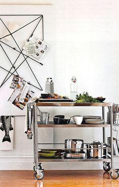 kitchen - Ikea Flytta trolley prep station (note 2 Ikea Bygel hanging baskets on end/$3ea)