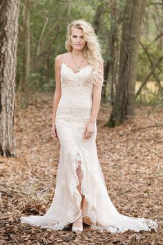 Lillian West - Style 6460: Fit and Flare Allover Lace Gown with Deep V-Neck and Back