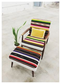 mid century modern, danish modern, vintage, Mexican blanket