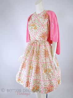60s Full Skirt Dress & Cardigan in Pink and White - sm, med by Better Dresses Vintage