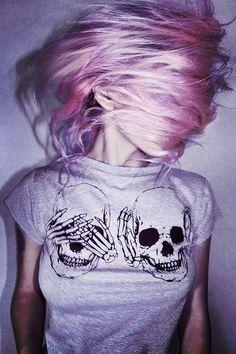 color hair, girl, grunge, style