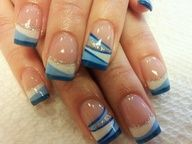 Blue and white stripe funky french tip nail art design