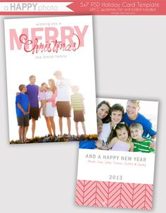 Curly Christmas, Holiday Photo Card Template, Photographers, PSD, WHCC, 5x7 flat and folded, christmas photo card
