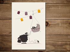 #Klappkarte zur #GEBURT mit #Schaf Elsbeth und #Katze Frida. #Glückwunschkarte