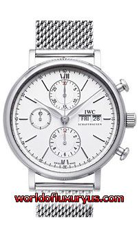 This IWC Portofino Chronograph Mens Watch, IW391009 features 42mm Stainless Steel case, Silver dial, Sapphire crystal, Fixed bezel, and a Polished stainless steel mesh bracelet. IWC Portofino Chronograph Mens Watch, IW391009 also features Automatic Movement, Analog display, Date at 3 o'clock. This watch is water resistant up to 30m / 100ft. - See more at: http://www.worldofluxuryus.com/watches/IWC/Portofino/IW391009/185_209_7888.php#sthash.rE1LWQcp.dpuf