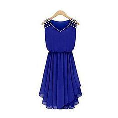 Diamante Chiffon vestido sem mangas da Mulher - BRL R$ 43,21