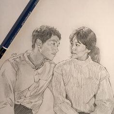 Descendants Of The Sun Wallpaper, Song Joong Ki Birthday, Korean Drama Funny, Lee Min Ho Kdrama, Color Pencil Sketch, Songsong Couple, Korean Painting, Charcoal Art, Book Drawing