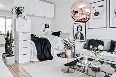 Post: Glamour en 31 m² --> decoración art deco, decoración estudio, decoración, glamour, decoración interiores pequeños, decoración metales cristal, decoración nórdica, diseño interiores pequeños, mini pisos, interior design, scandinavian interiors
