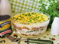 Ala piecze i gotuje: Sałatka warstwowa z tuńczykiem Macaroni And Cheese, Pudding, Ethnic Recipes, Desserts, Foods, Amazing, Tailgate Desserts, Food Food, Mac And Cheese
