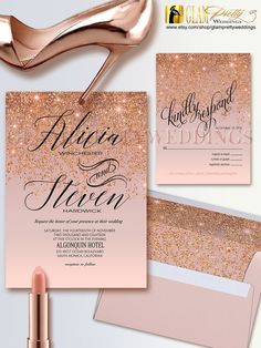 Items similar to Rose Gold Glitter Wedding Invitation & RSVP card - Glam Gold Faux Sparkle Glitter - Printable or Printed File - Style Name: ALICIA on Etsy