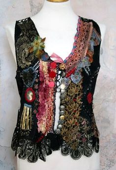 RESERVED to M-----Lifelong Hippie, suede leather, romantic embroidered vintage vest, wearable art textile collage with antique laces Gypsy Style, Boho Gypsy, Hippie Boho, Bohemian, Antique Lace, Vintage Lace, Estilo Hippy, Altered Couture, Creation Couture