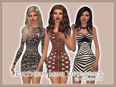 Leather Mini Dresses by alainavesna at TSR via Sims 4 Updates