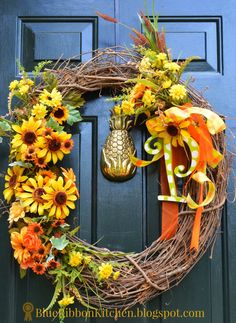 Blue Ribbon Kitchen: FOUR AUTUMN WREATHS & ONLY ONE FRONT DOOR. Painted monogram wreath. Yellow and Green