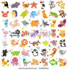 Vector illustration of cute animals and birds set: rhinoceros, turkey, wolf, pelican, fox, whale, unicorn, bull, sea horse, lion, penguin, raccoon, cat, panther, jellyfish, crocodile, duck, panda, owl