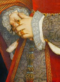 Hans Holbein the Younger. Detail from Portrait of Jane Seymour, Queen of England, Jane seymour, queen of england,Hans holbein 1536 Costume Renaissance, Renaissance Fashion, Renaissance Art, Tudor Fashion, Renaissance Jewelry, Medieval Jewelry, Ancient Jewelry, Jane Seymour, Historical Costume