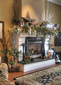 beautiful rustic Christmas mantel decoration idea