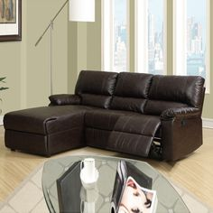 Bobby Coffee Bonded Leather Recliner Sectional Sofa W/ Left Chaise