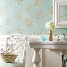 Turquoise and Gold Wallpaper, Traditional, bathroom, Thibaut Design