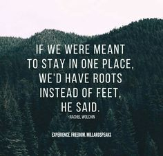 If we were meant to stay in one place, we'd have roots instead of roots.