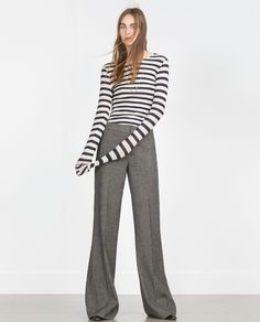 ZARA - WOMAN - STRAIGHT CUT HERRINGBONE TROUSERS