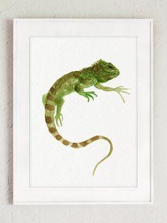 Green Iguana Art Print Lizard Wall Decor Green by ColorWatercolor