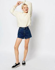 Image 1 - Monki - Short usé en jean à bords effilochés