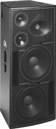 """EAW LA325 3-Way Full-Range Loudpeaker by EAW. $3065.00. The EAW LA325 is a 3-way full-range system in a vented trapezoidal enclosure. It includes 2 - 15"""" woofers, 2 - 7"""" midrange cones, and a 2"""" exit/3"""" voice coil compression driver on an elliptical (90 degrees x 70 degrees) Wave Guide Plate. Powering mode is switchable: passive or bi-amplified (passive MF/HF crossover).The LA325 full-range main system provides very high output over a wide horizontal angle and i..."""