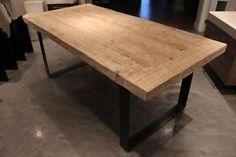 Table de cuisine en bois de grange centenaire bois de - Table bois rallonges integrees ...
