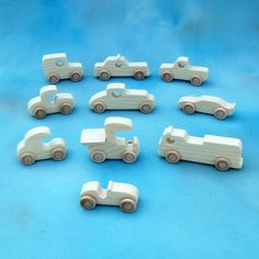 Wood Toy Cars and Trucks - Set of 10 Natural Wooden Toy Vehicles - Great Party…