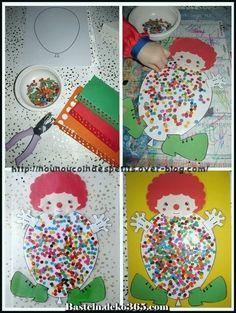 Easy Crafts For Everyone Clown Crafts, Circus Crafts, Carnival Crafts, Easy Crafts, Diy And Crafts, Arts And Crafts, Kindergarten Crafts, Preschool Activities, 2d Shapes Activities