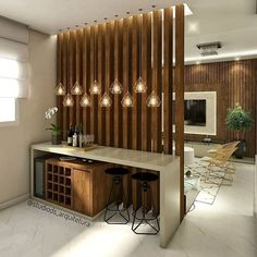 Interior Decorating Plans for your Home Bar Living Room Partition Design, Living Room Divider, Room Partition Designs, Diy Room Divider, Wood Partition, Divider Ideas, Partition Ideas, Room Partition Wall, Room Divider Walls