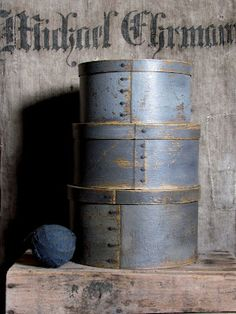 blue pantry boxes with painted linen sack behind Primitive Furniture, Primitive Antiques, Primitive Crafts, Country Blue, Country Decor, Country Charm, Country Living, Love Blue, Blue And White