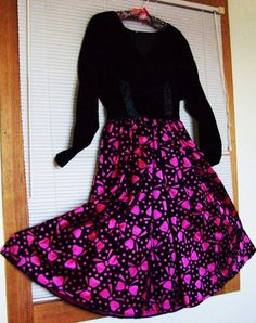 vintage black and pink velvet party dress made by susiestratford