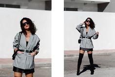 Get this look: http://lb.nu/look/8909467 More looks by Maray: http://lb.nu/user/5662430-Maray Items in this look: Zaful Blazer, Pull & Bear Belt, Bershka Skirt, Carolina Boix Boots, Zaful Sunglasses, Zara Bag #chic #elegant #minimal #otk #boots #blazer #oversize