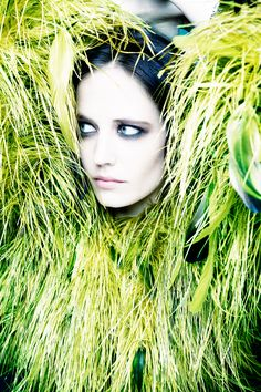 Eva Green, Rankin Portraits Exclusive, Vogue UK.  ms. Green with green grass!!!