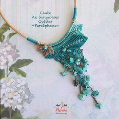 """Collier turquoises """"Perséphone"""" micro-macramé"""