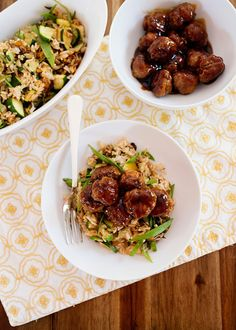 Soy Ginger Pork Meatballs with Zucchini and Snow Pea Fried Rice made using a Blue Apron kit. A review of the Blue Apron delivery service.
