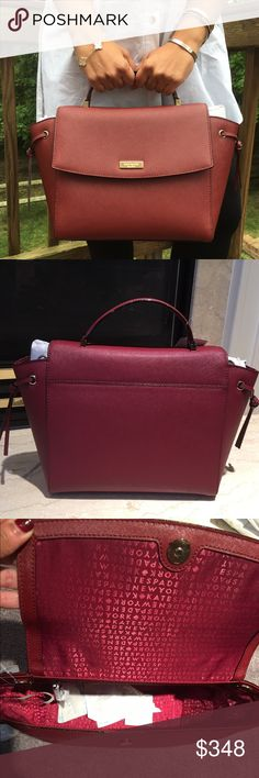 """NWT Kate Spade Wine Leather Satchel Bag Brand New Kate Spade Satchel in saffiano leather. Comes with removable adjustable strap can be worn as a Crossbody.   One inside zipped pocket and two open pocket. Measurements 10"""" bottom 12"""" top X 9"""" X 4.5""""    ✔️ Bundle Discounts  ✔️ Reasonable Offers through offer button  ❌ Low Balling  ❌ Trades kate spade Bags Satchels"""