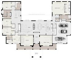 AgathaMabe 5 Bedroom House Plans Awesome Floor Plan Friday U Shaped 5 Bedroom Family Hom. House Layout Plans, House Plans One Story, New House Plans, Dream House Plans, Modern House Plans, House Layouts, Family Home Plans, Story House, Modern Houses