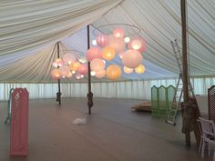Paper lanterns with a twist, Paper lantern chandeliers at Goodwood More