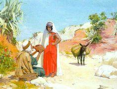 Peinture d'Algérie -Peintre Espagnol, José Alsina(1850 - 1925), huile sur panneau 1901, Titre : La détente.