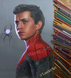Color pencil drawing spiderman by lander art Realistic Pencil Drawings, Hyper Realistic Paintings, Art Drawings Sketches Simple, Bird Drawings, Pencil Art Drawings, Drawing Stars, 3d Art Drawing, Teeth Drawing, Tom Holland