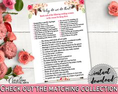 Why Do We Do That in Bohemian Flowers Bridal Shower Pink And Red Theme, tradition quiz game, pink red, shower activity, party theme - 06D7T #bridalshower #bride-to-be #bridetobe