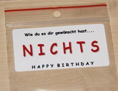 EINE TÜTE NICHTS in 4 Designs Geschenkidee Geburtstag lustig Gag Geschenk NEU Best Picture For gift videos For Your Taste You are looking for something, and it is going to tell you exactly what you are looking for, and you… Continue Reading → Funny Birthday Gifts, Happy Birthday Cards, Birthday Presents, Birthday Greetings, Humor Birthday, Presents For Her, Gifts For Dad, Diy Birthday Invitations, Funny Gags